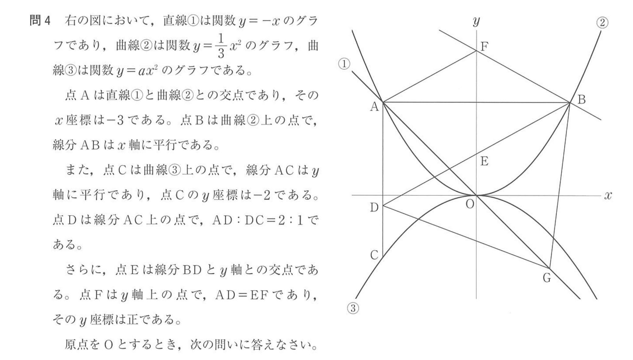 2019神奈川県公立高校入試、数学問4の問題