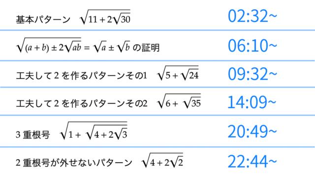 バリクソ数学、数学1A、2重根号、サムネイル