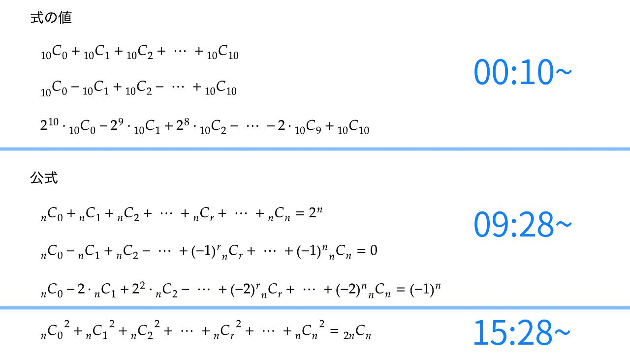 二項定理と式の値、公式、サムネイル